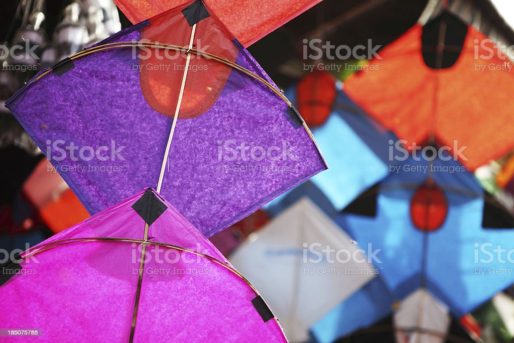 Colorful Paper Kites at Shop in Asian Market royalty-free stock photo