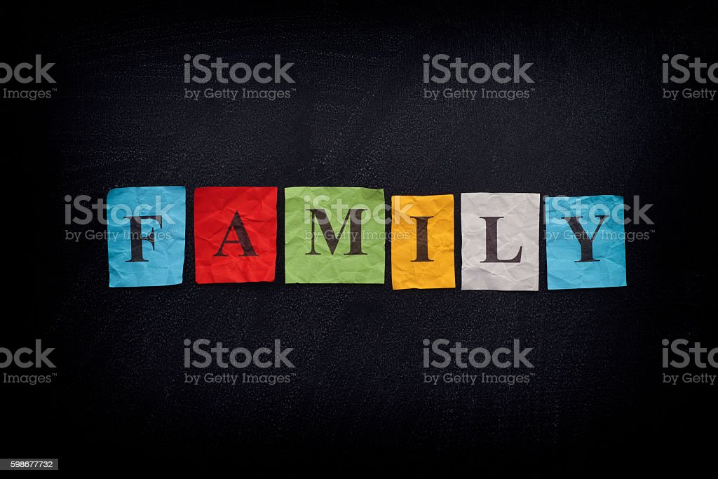 Colorful paper notes with the word Family - Photo