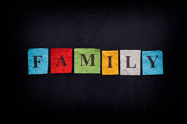 Colorful paper notes with the word Family - foto stock