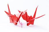 のカラフルな鳥紙折り紙白背景