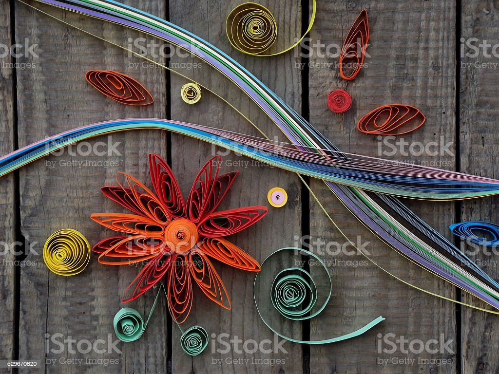 colorful paper quilling stock photo