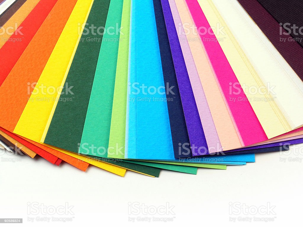 Colorful paper samples for business cards stock photo