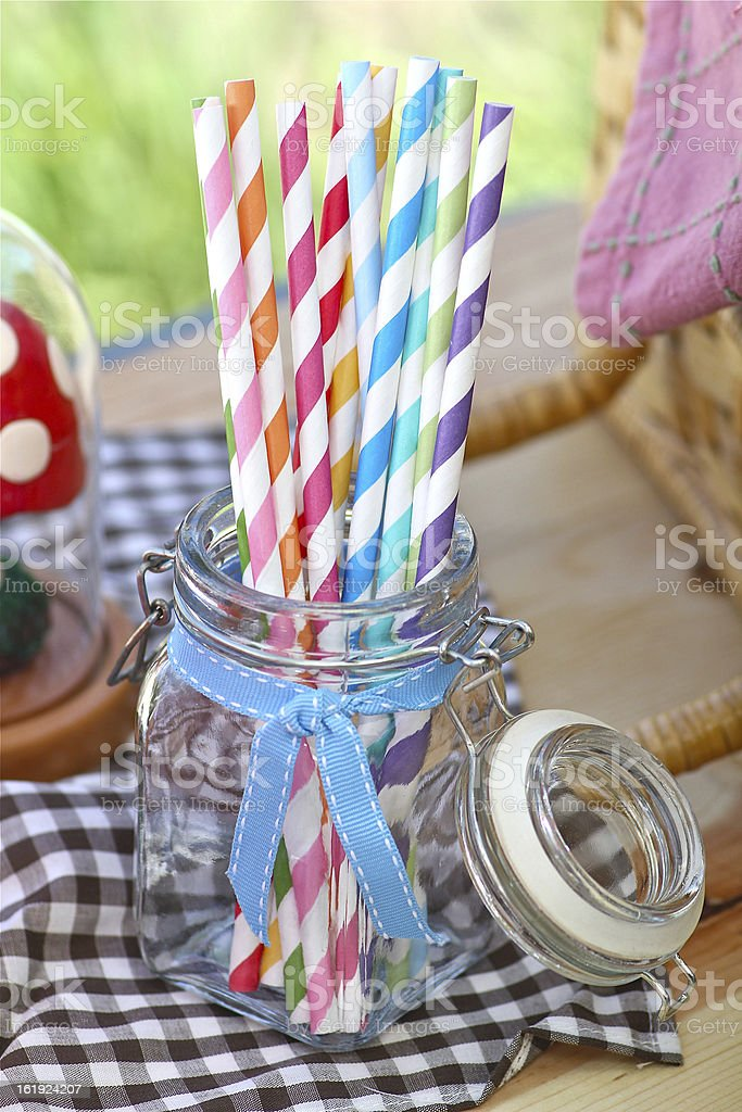 Colorful Paper Straws royalty-free stock photo