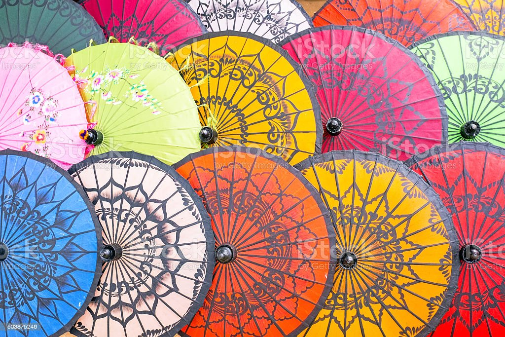 Colorful paper umbrellas stock photo