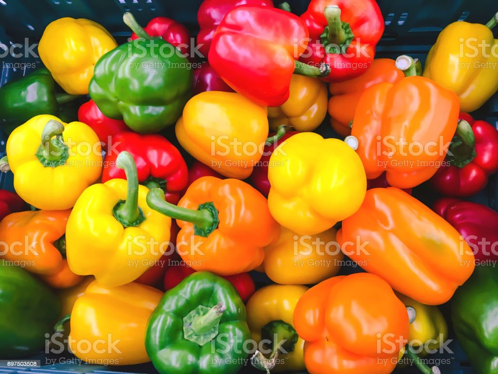 Colorful paprika background stock photo