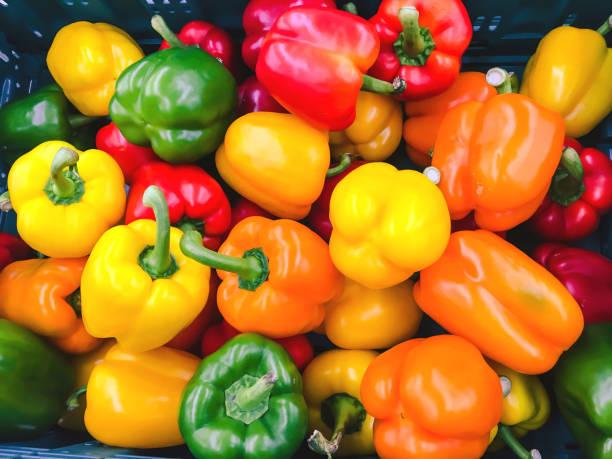 Colorful paprika background stock photo