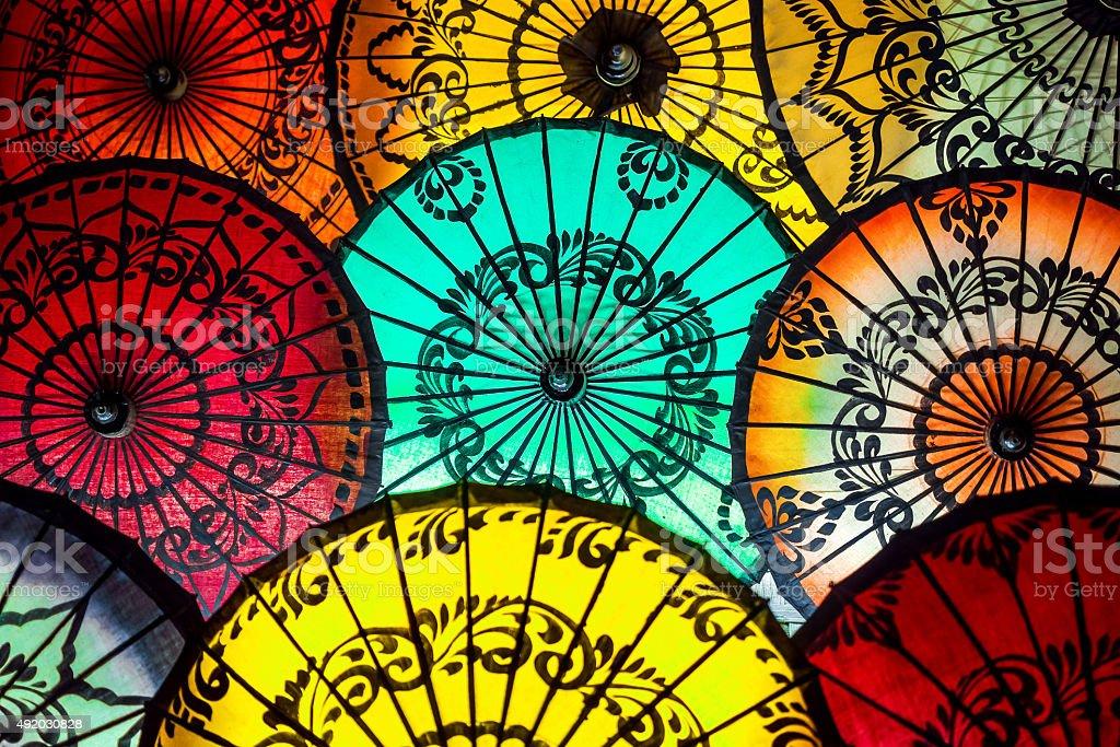 Colorful Parasols at Traditional Asian Market in Bagan, Myanmar (Burma) stock photo