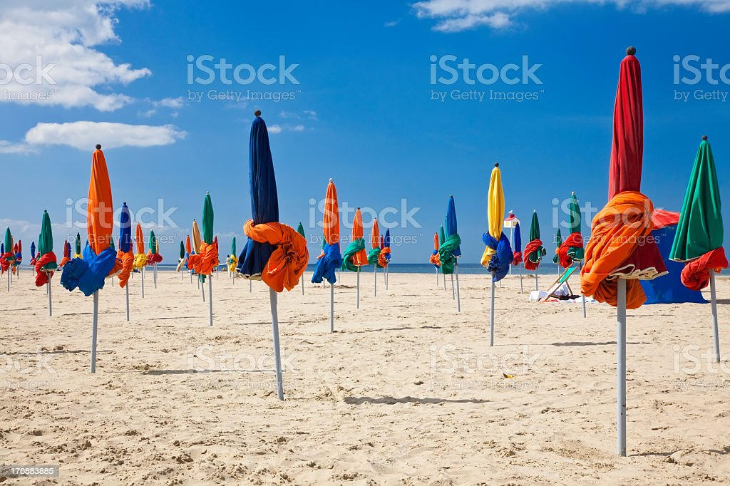 Colorful Parasols on Deauville Beach, Normandy, France, Europe royalty-free stock photo