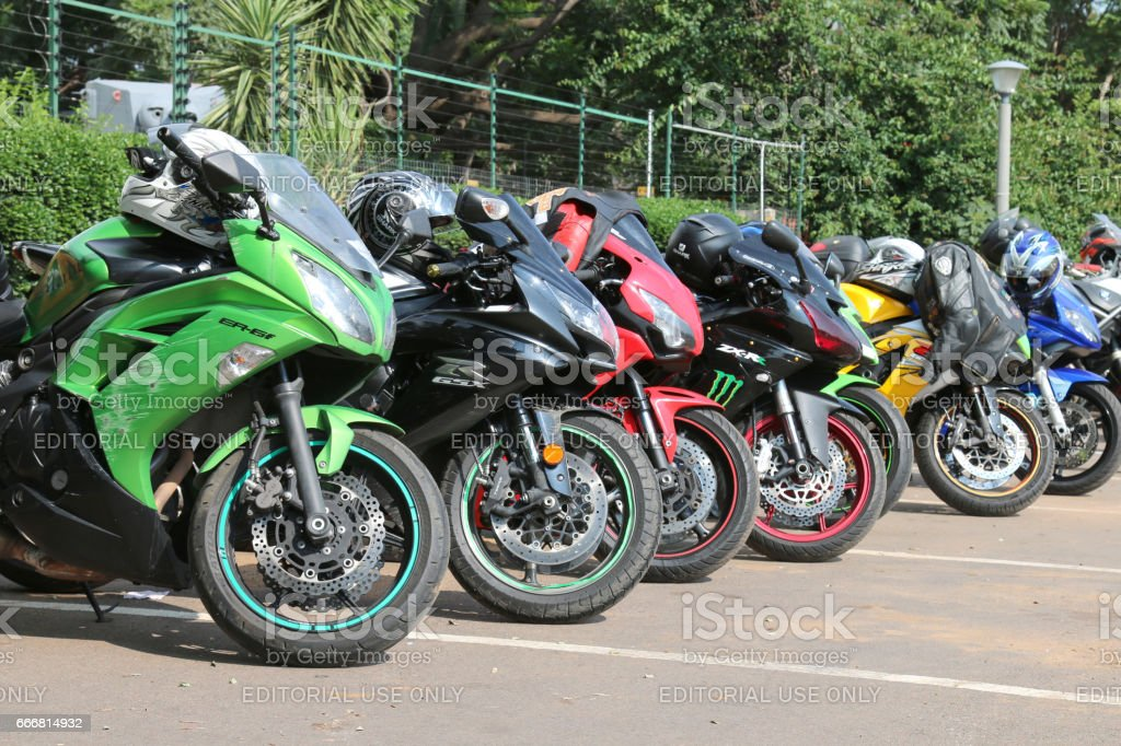 Colorful Parked motorbikes at Yearly Mass Ride stock photo