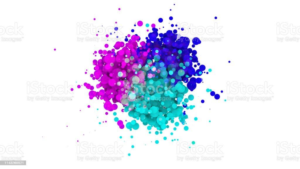 Colorful particular bubbles splashing, 3D rendering of color splash...