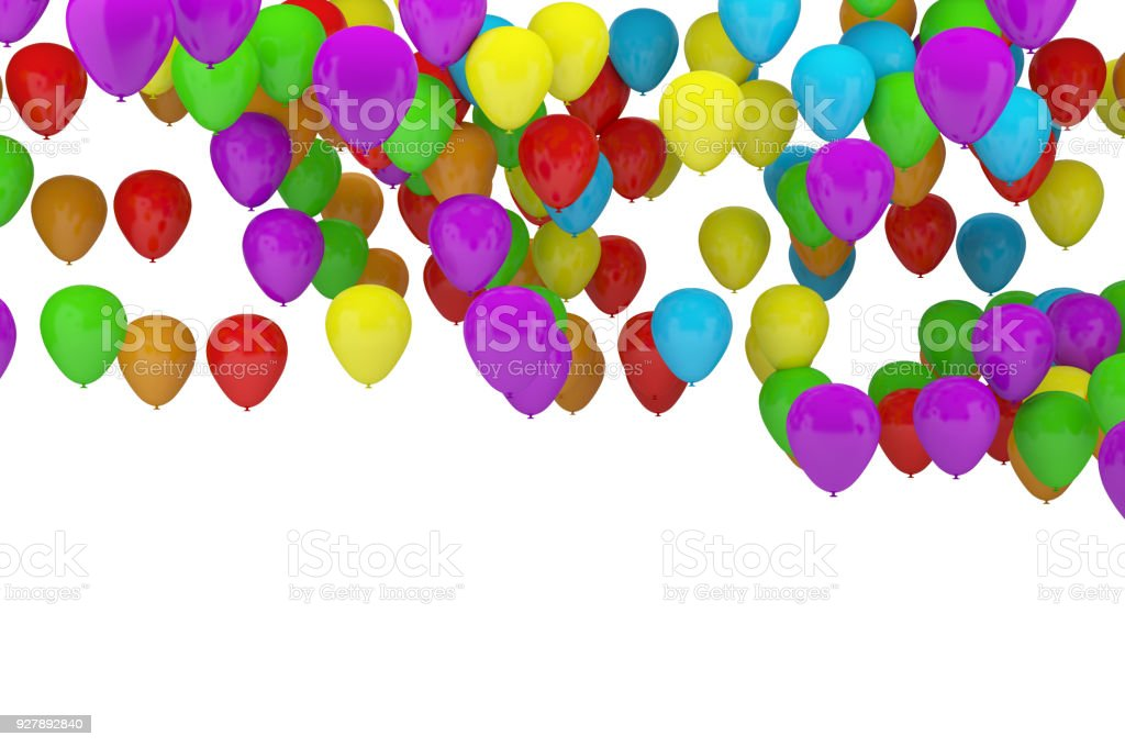 Colorful party balloons background with white background for copy space stock photo