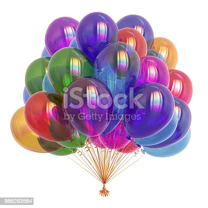 istock colorful party balloons, birthday decoration multicolored 986263584