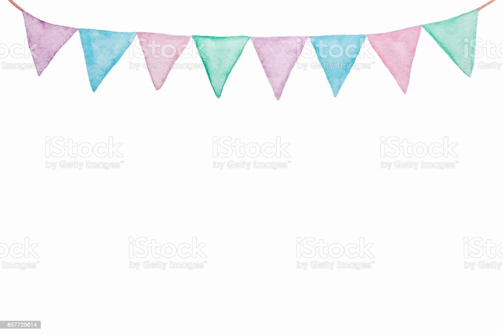 Colorful party bunting flag watercolor drawing isolated on white background, Holiday greeting card background stock photo