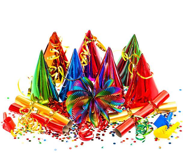 bunte party, carnival, geburtstag, silvester dekoration - geburtstagswünsche mit bild stock-fotos und bilder