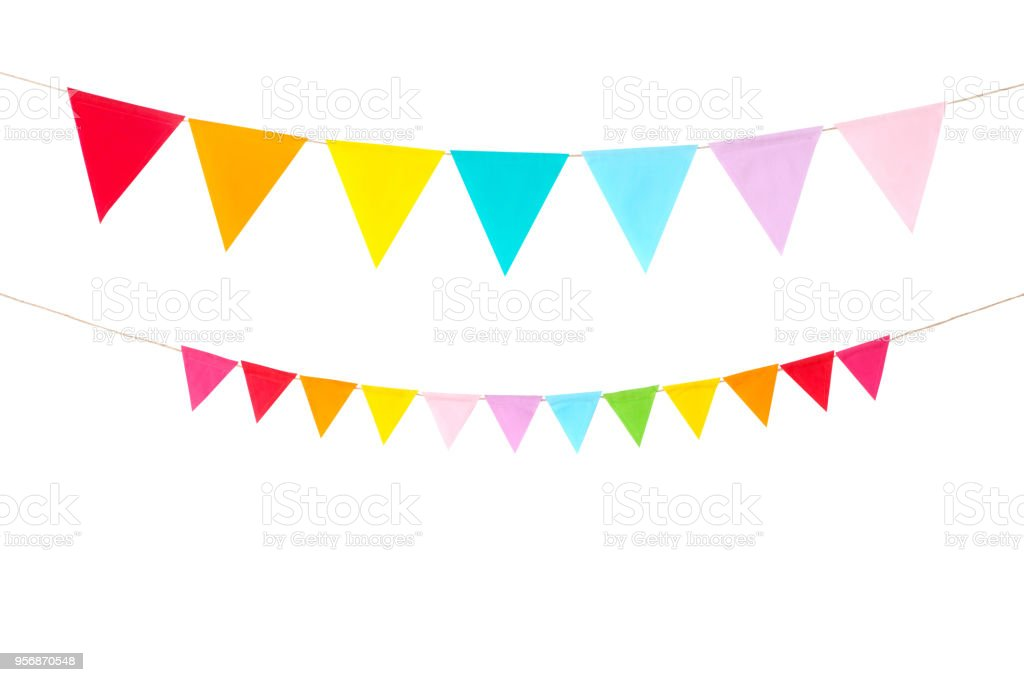 Colorful party flags isolated on white background, birthday, anniversary, celebrate event, festival greeting card background - fotografia de stock