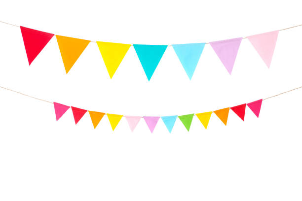 Colorful party flags isolated on white background, birthday, anniversary, celebrate event, festival greeting card background Colorful party flags isolated on white background, birthday, anniversary, celebrate event, festival greeting card background flags stock pictures, royalty-free photos & images