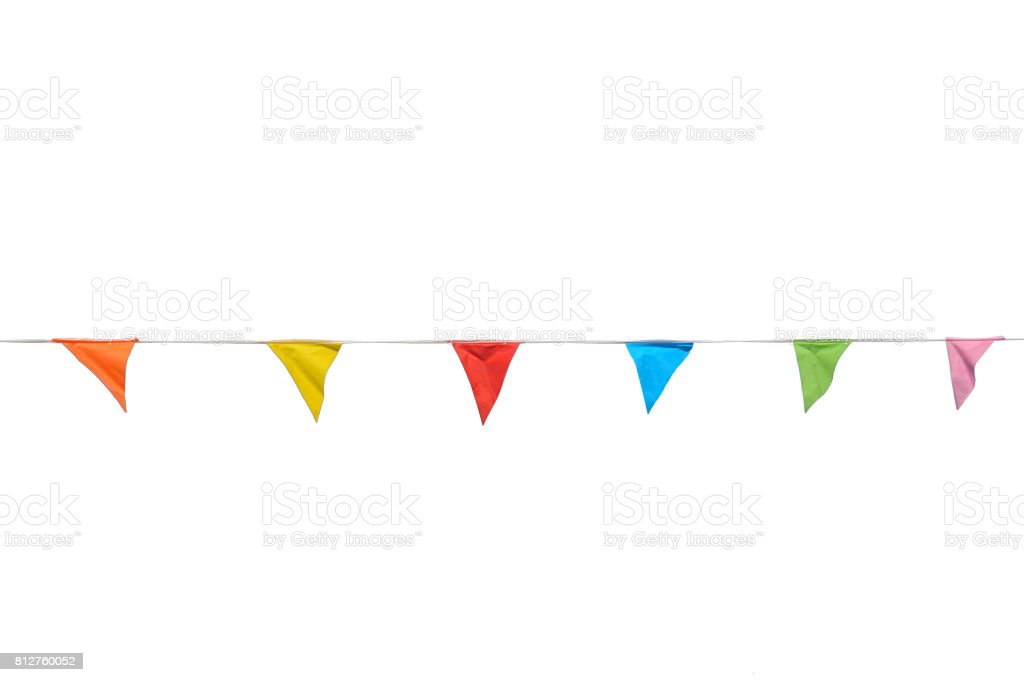 Colorful party flags isolated on white background. stock photo