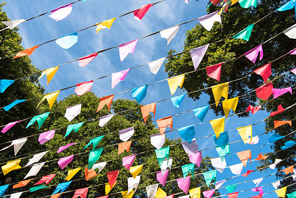 Colorful Party Flags stock photo