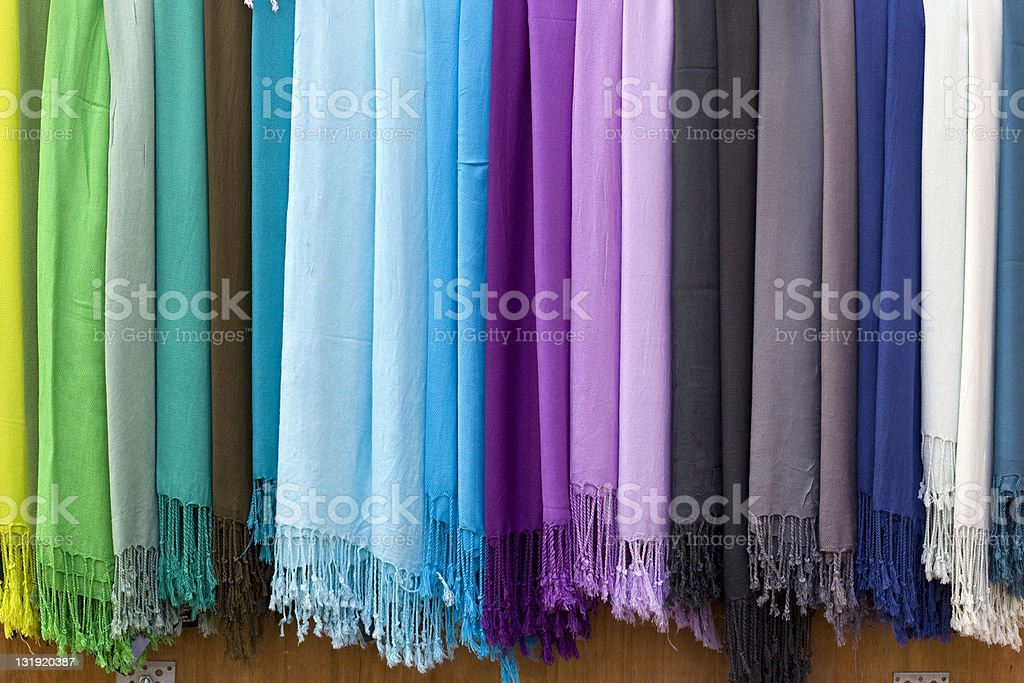 Colorful pashmina scarves royalty-free stock photo