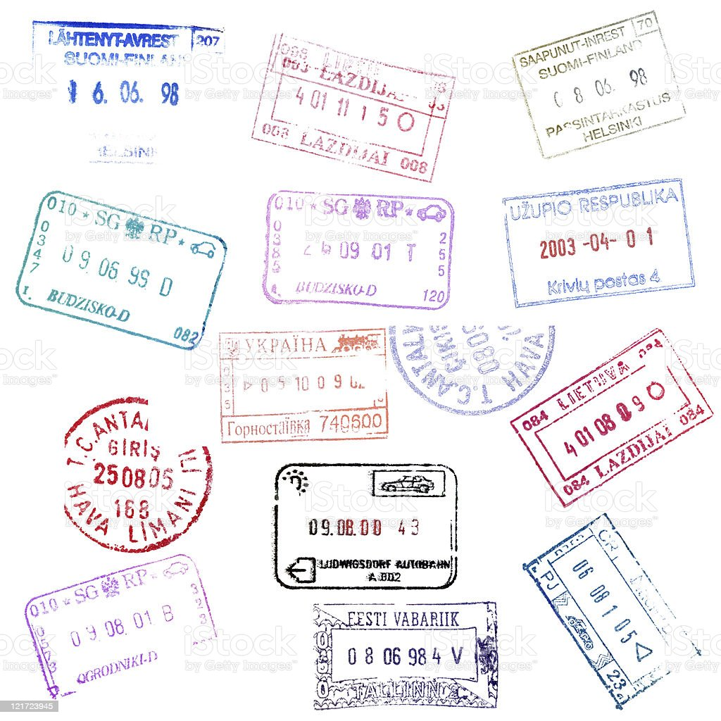 Colorful passport stamps background. stock photo