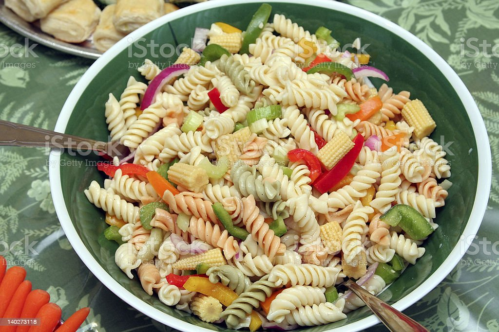 Colorful pasta salad stock photo