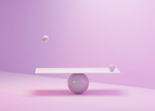 Colorful Pastel Abstract of Geometric Shapes balancing. stock photo