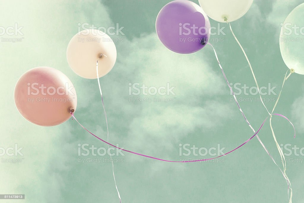 Colorful pastel balloons stock photo