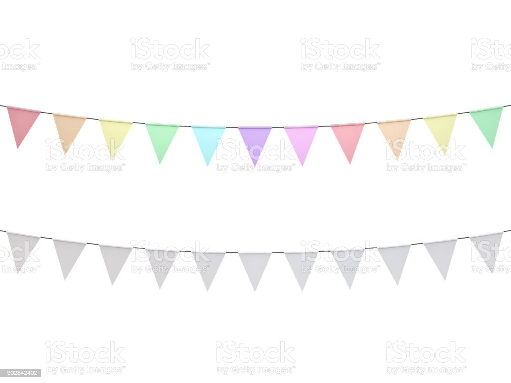Colorful pastel colors and white bunting flags isolated on white background - fotografia de stock