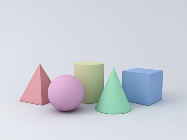 bunte pastell geometrie 3d grafische formen cube pyramide kegel zylinder kugel isoliert auf weißem hintergrund mit schatten 3d-rendering - pyramide sammlung stock-fotos und bilder