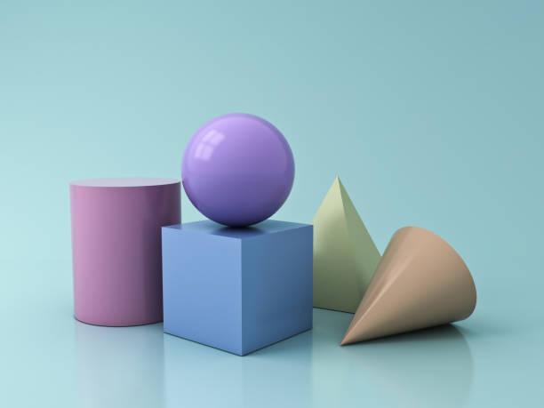 bunte pastell geometrie 3d grafische formen cube pyramide kegel zylinder kugel auf blau pastell grün hintergrund mit spiegelungen und schatten 3d-rendering isoliert - pyramide sammlung stock-fotos und bilder
