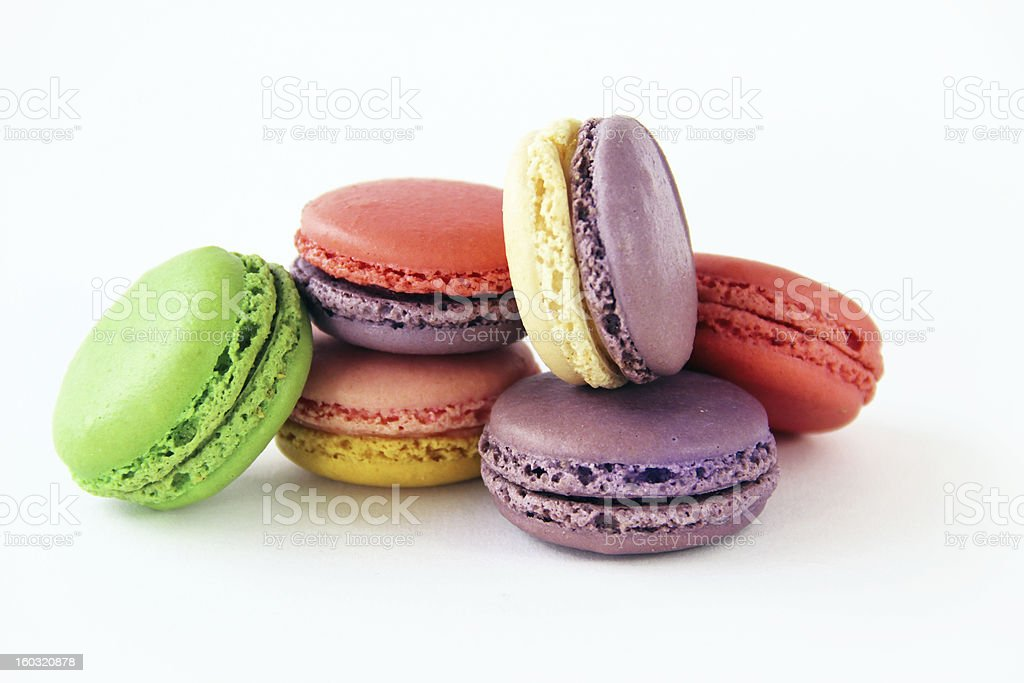 Colorful Pastel Macarons on White Background royalty-free stock photo