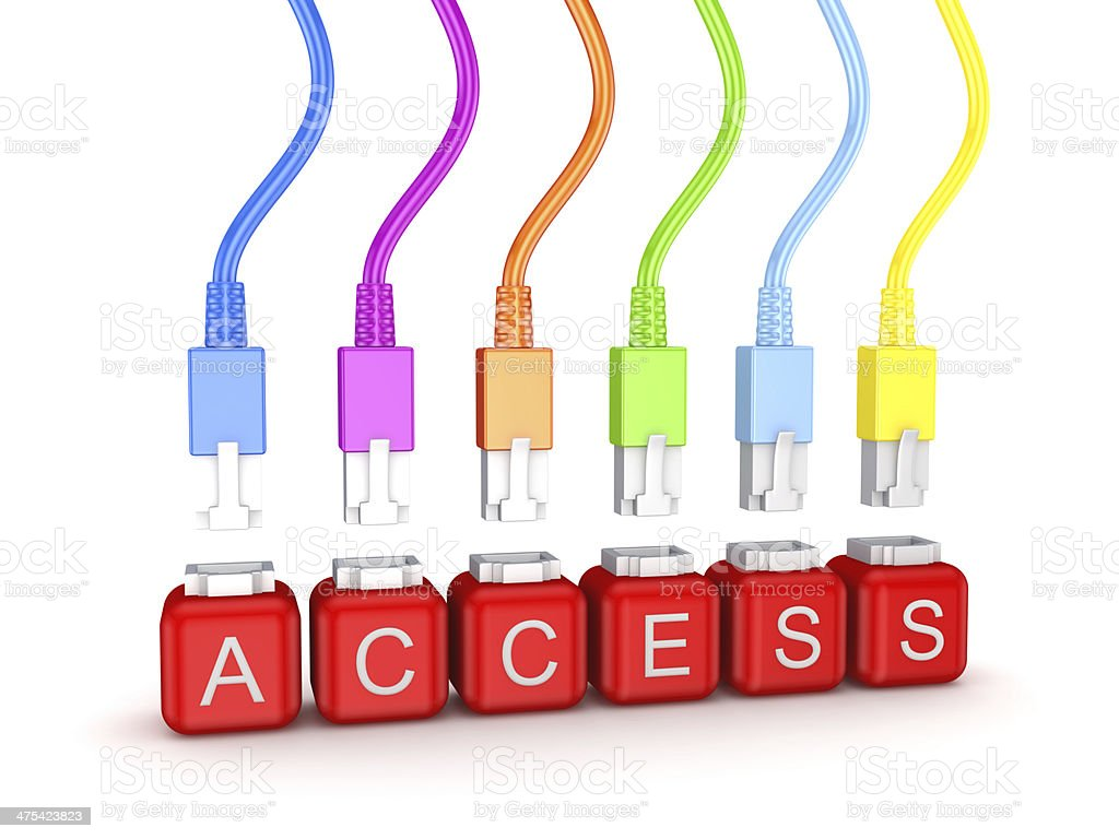 Colorful patchcords and word Access. royalty-free stock photo