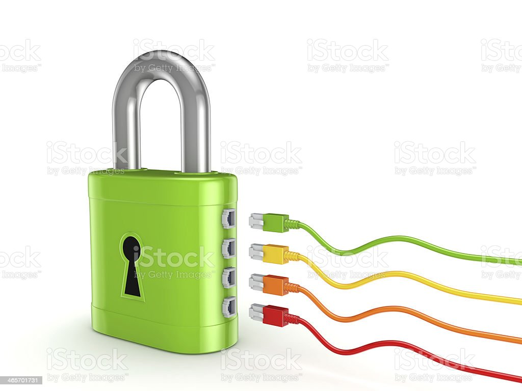 Colorful patchcords connected to green lock. stock photo