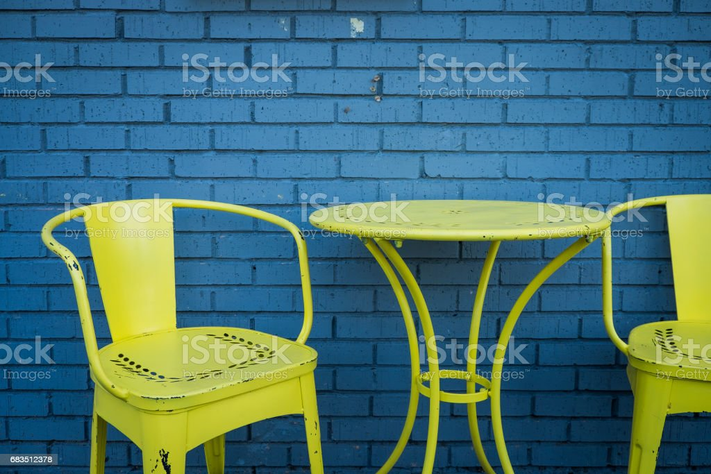 Colorful Patio Table and Chairs stock photo