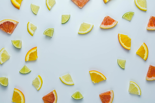 Colorful pattern fo Citrus Fruit on White Background