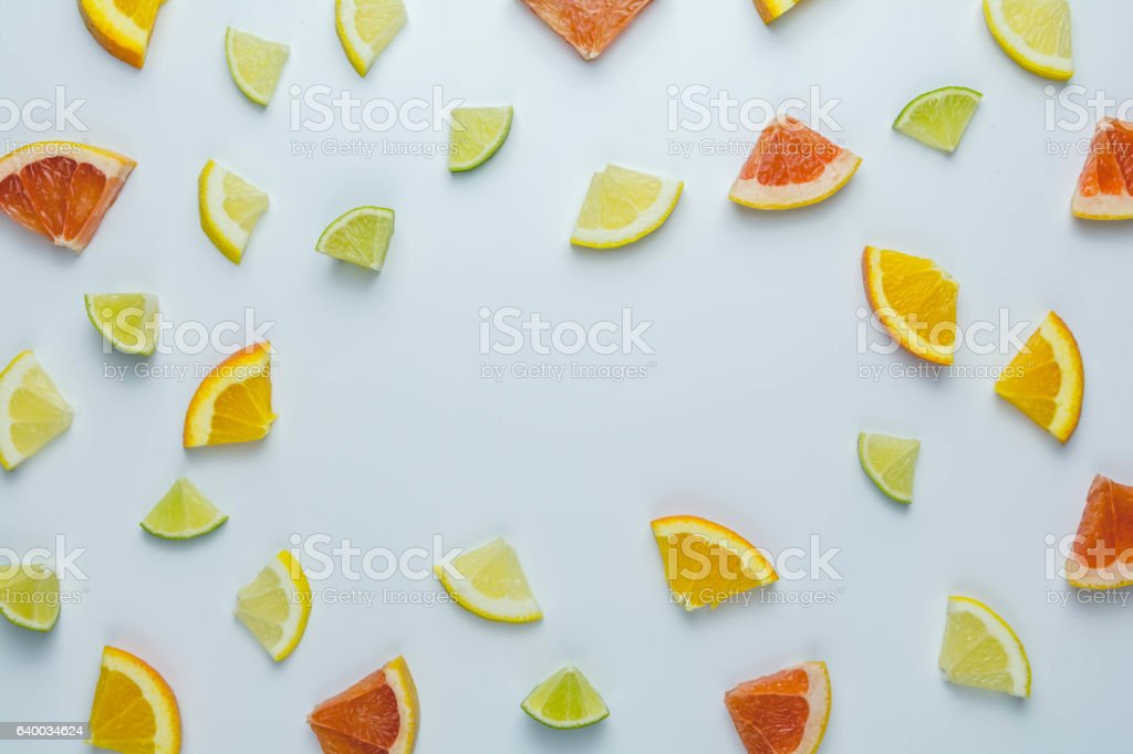 Colorful pattern fo Citrus Fruit on White Background stock photo