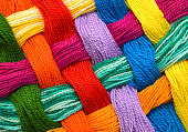 Colorful pattern lattice background from embroidery thread
