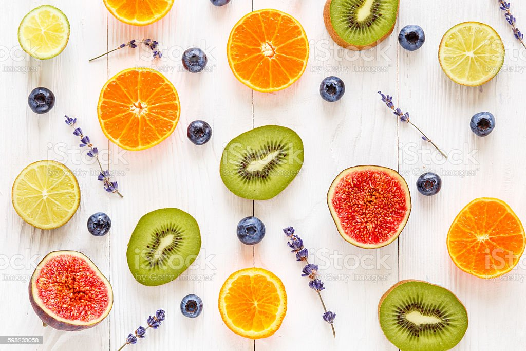 Colorful pattern made of fruits top view foto royalty-free