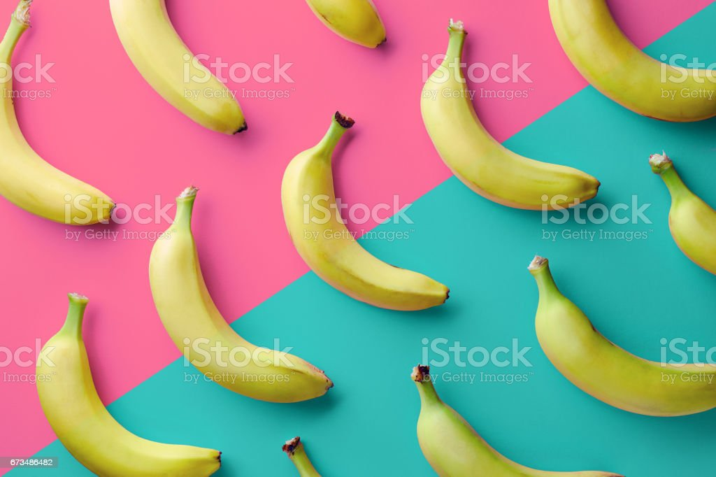 Colorful pattern of bananas stock photo