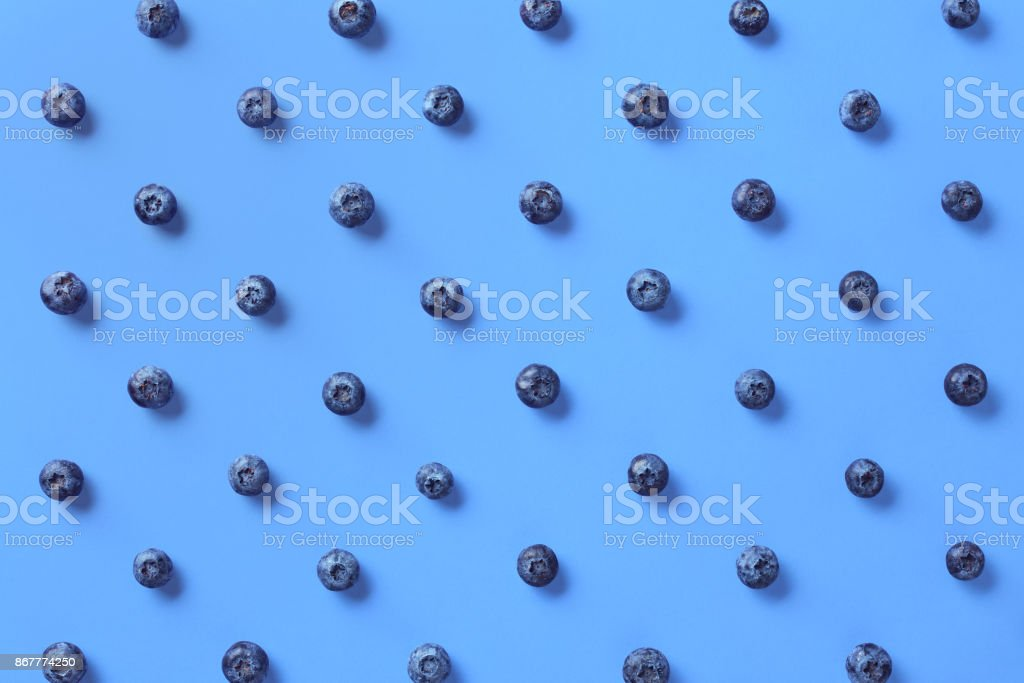 Colorful pattern of blueberries stock photo
