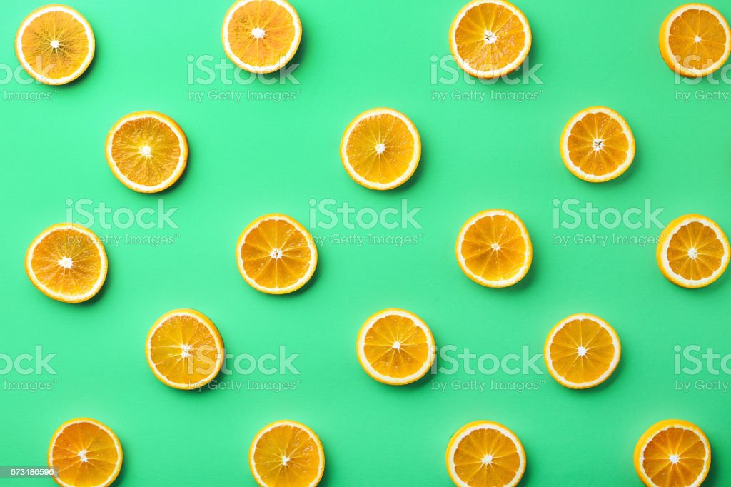 Colorful pattern of orange slices stock photo