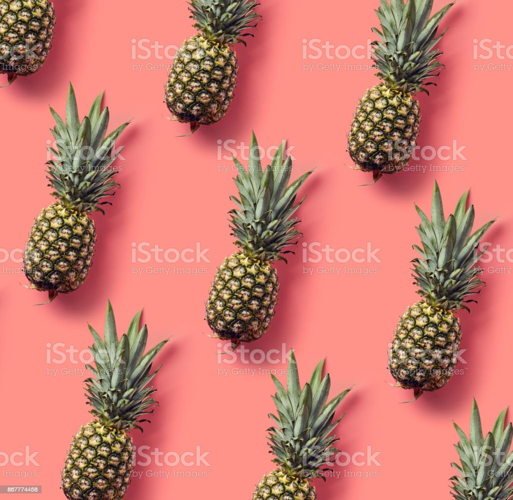 Colorful pattern of pineapples stock photo