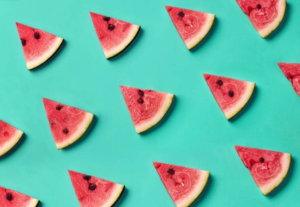 colorful pattern of watermelon slices - fruit stock photos and pictures