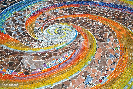 Colorful patterns of beautiful mosaics on the floor.