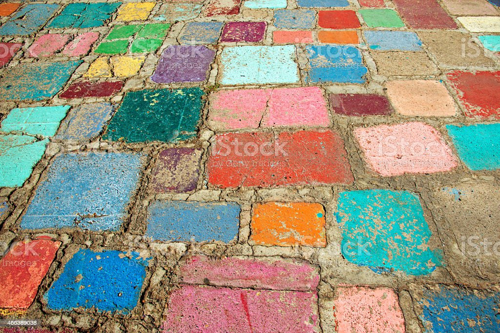 Colorful Paving Stones in Balboa Park Spanish Village Art Cemter stock photo