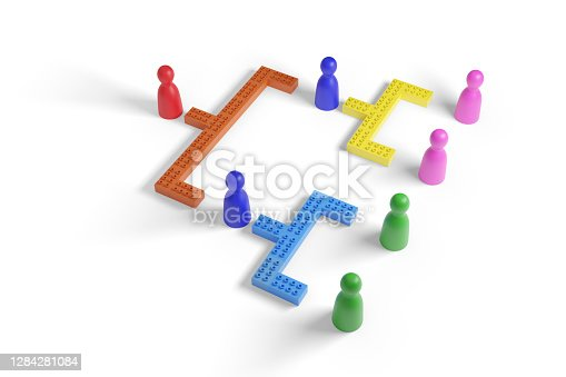 Colorful pawns and blocks representing a hierarchical structure isolated on white background. 3d illustration.