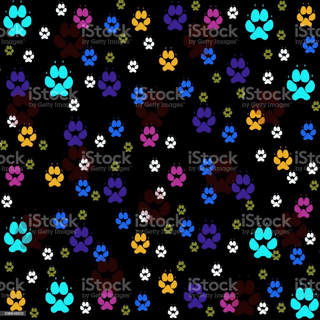Colorful pawprints stock photo