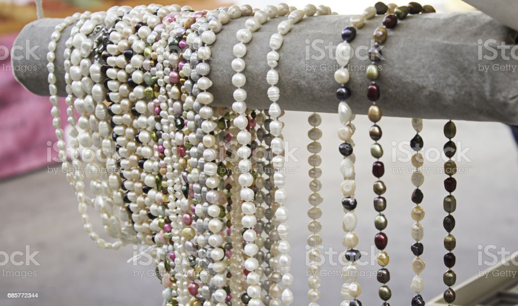 Colorful pearl necklaces royalty-free stock photo