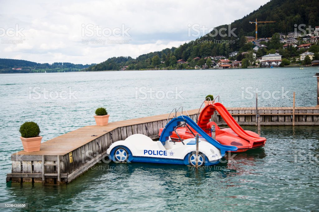 colorful pedal boats at Tegernsee stock photo