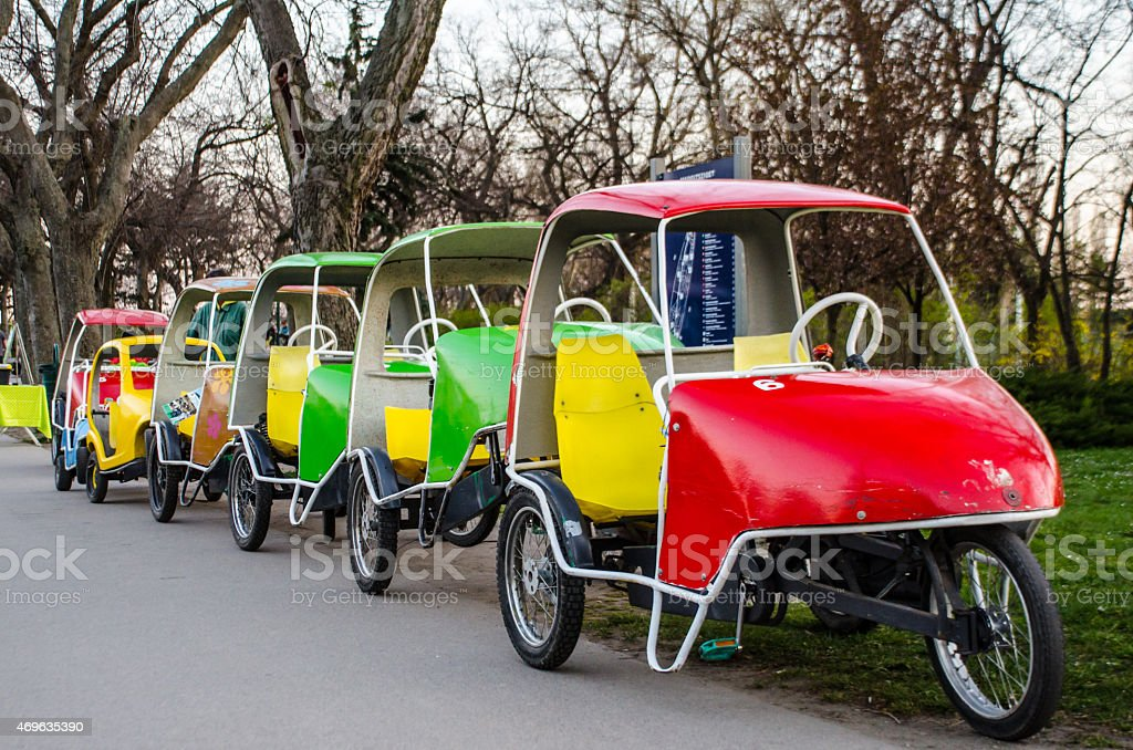 Colorful Pedal Cars stock photo